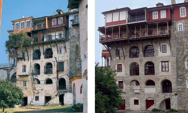 Το βόρειο μ�ρος της Ανατολικής Πτ�ρυγας πριν και μετά την ανακαίνιση.