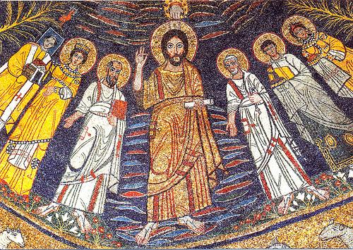 Ο Χριστός μαζί με αγίους στον παράδεισο. (Ψηφιδωτό του 9ου αιώνα στην βασιλική της αγίας Καικιλίας στην Ρώμη.)