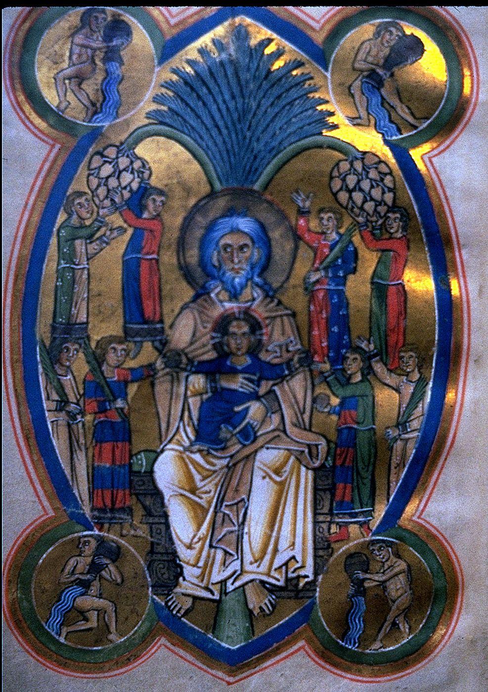 Ο Λάζαρος στην αγκαλιά του Αβραάμ. Σελίδα από Γερμανικό χειρόγραφο (ανώνυμου)