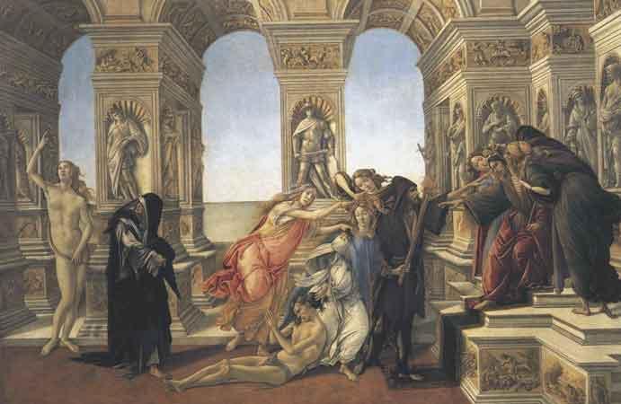 Σάντρο Μποτιτσέλι, Η Συκοφαντία του Απελλή, π. 1495, Πινακοθήκη Ουφίτσι. Έργο βασισμένο σε περιγραφή έργου του Απελλή, όπως αυτή δίνεται από τον Λουκιανό.