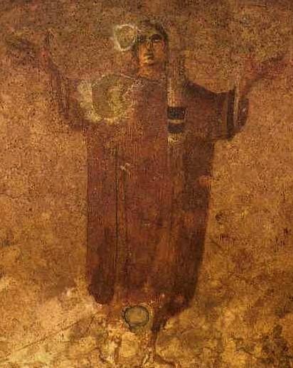 Η Παναγία Δεομένη (τοιχογραφία του 3ου ή 4ου αιώνα από την κατακόμβη της Αγίας Πρισκίλλας στην Ρώμη)
