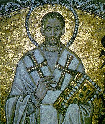 Λεπτομέρεια από ψηφιδωτή απεικόνιση του αγίου Ιωάννη του Χρυσοστόμου στην Αγία Σοφία της Κωνσταντινούπολης (9ος αιώνας).