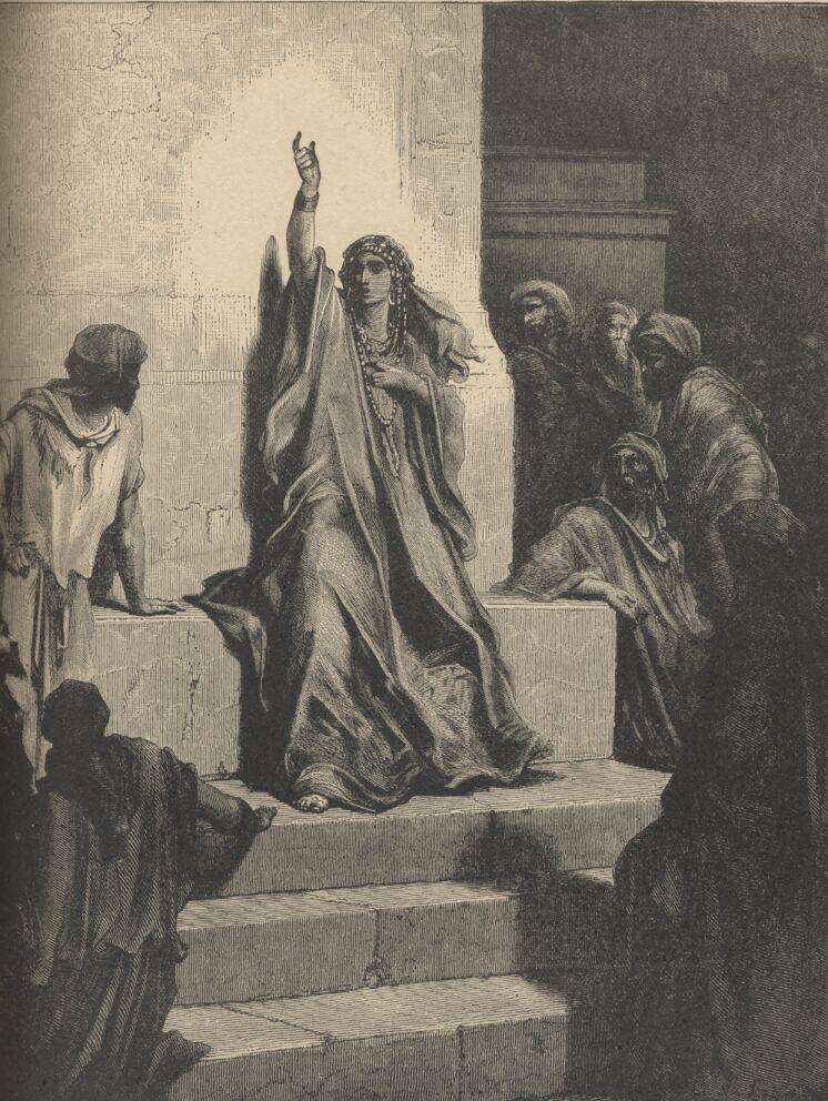 """Η Δεββώρα, που ήταν προφήτισσα και """"κριτής"""" του Ισραήλ (βλ. Κριταί, κεφ. 4-5). Γκραβούρα του Gustave Doré (1832-1883)."""