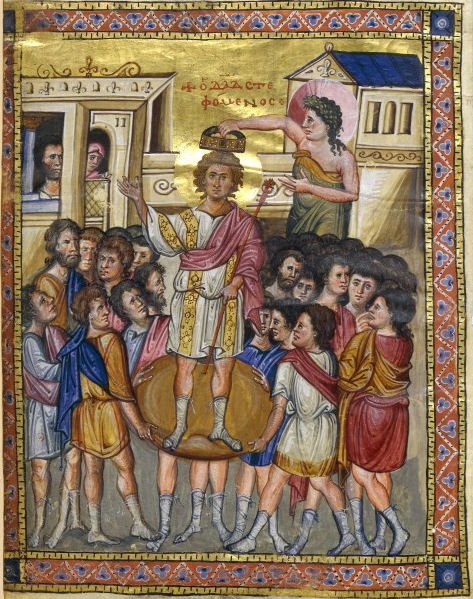 The coronation of David. Miniature from the byzantine Psalter of the National Library of Paris (early 10th century). Η στέψη του Δαβίδ. Μικρογραφία από το βυζαντινό Ψαλτήρι της Εθνικής Βιβλιοθήκης των Παρισίων (αρχές 10ου αιώνος).