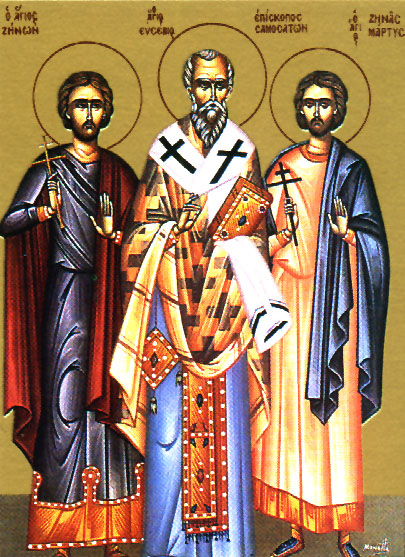 A modern greek icon depicting Saints Zenon, Eusebius and Zenas