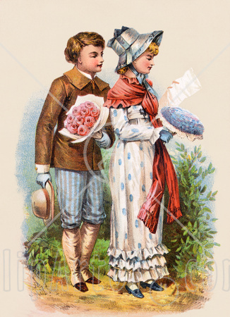 9644-Clipart-Illustration-Of-A-Vintage-Victorian-Scene-Of-A-Boy-Carrying-Flowers-And-Walking-Behind-A-Girl-As-She-Reads-A-Love-Letter-Circa-1886