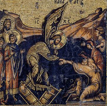 Οι ψυχές των πεθαμένων στον Άδη συναντούν τον Χριστό νικητή επί του θανάτου.