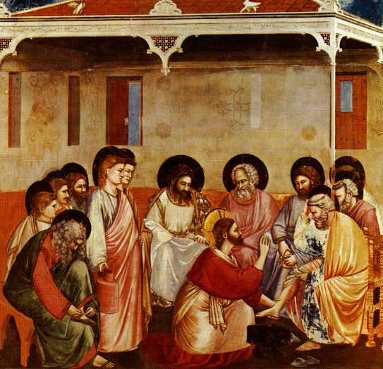 Ο Χριστός νίπτει τα πόδια των μαθητών Του. Τοιχογραφία του Giotto.