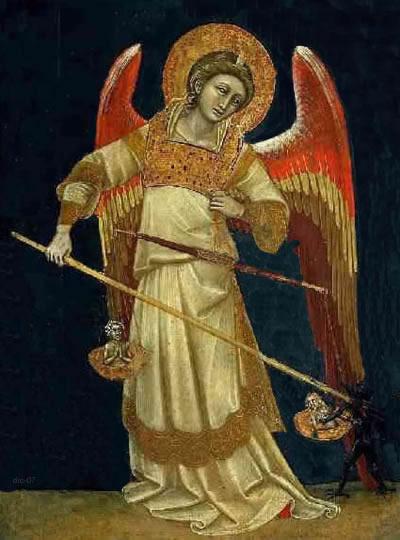 Ένας άγγελος ζυγίζει ψυχές και διώχνει τον δαίμονα που προσπαθεί να αρπάξει μία. Πίνακας του ιταλού ζωγράφου Guariento (μέσα 14ου αιώνα).