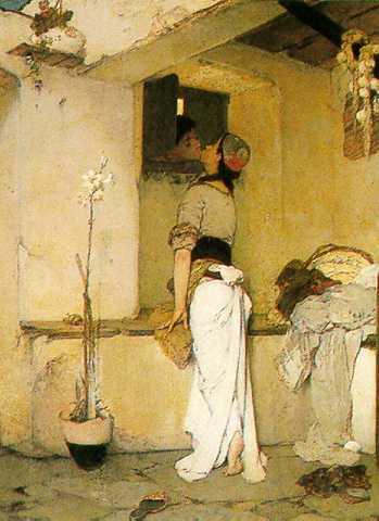 Το φίλημα. Πίνακας του Νικηφόρου Λύτρα.