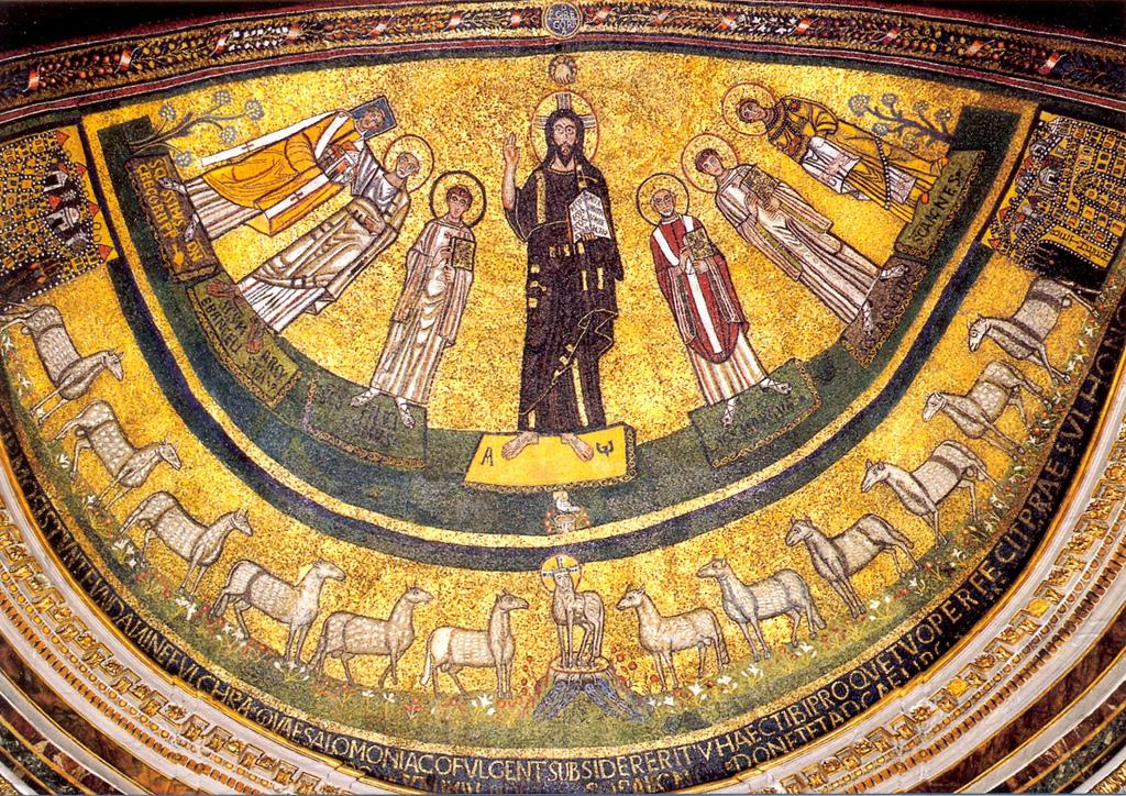 Ο Χριστός με αγίους. Ψηφιδωτό στην κόγχη του αγίου βήματος της βασιλικής του Αγίου Μάρκου στην Ρώμη (9ος αιώνας).