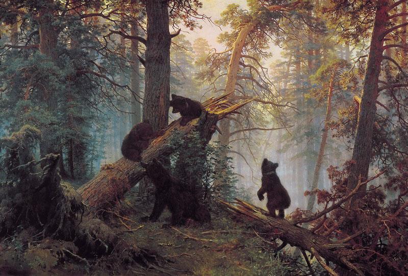 Πρωινό στο πευκοδάσος. Εργο του Ivan Shishkin (1889).