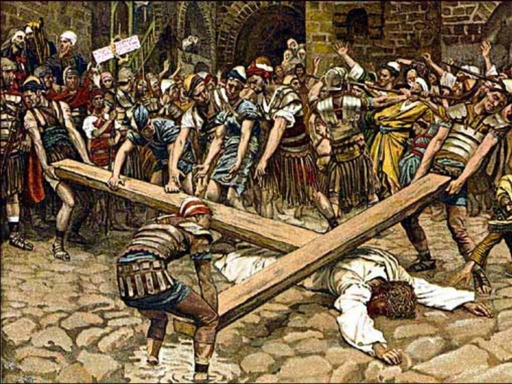 Ο Χριστός αντιμετωπίζει τους δαίμονες και καταλύει την εξουσία τους, κουβαλώντας τον Σταυρό. Ένας πίνακας του Jacques Joseph Tissot (1836-1902).