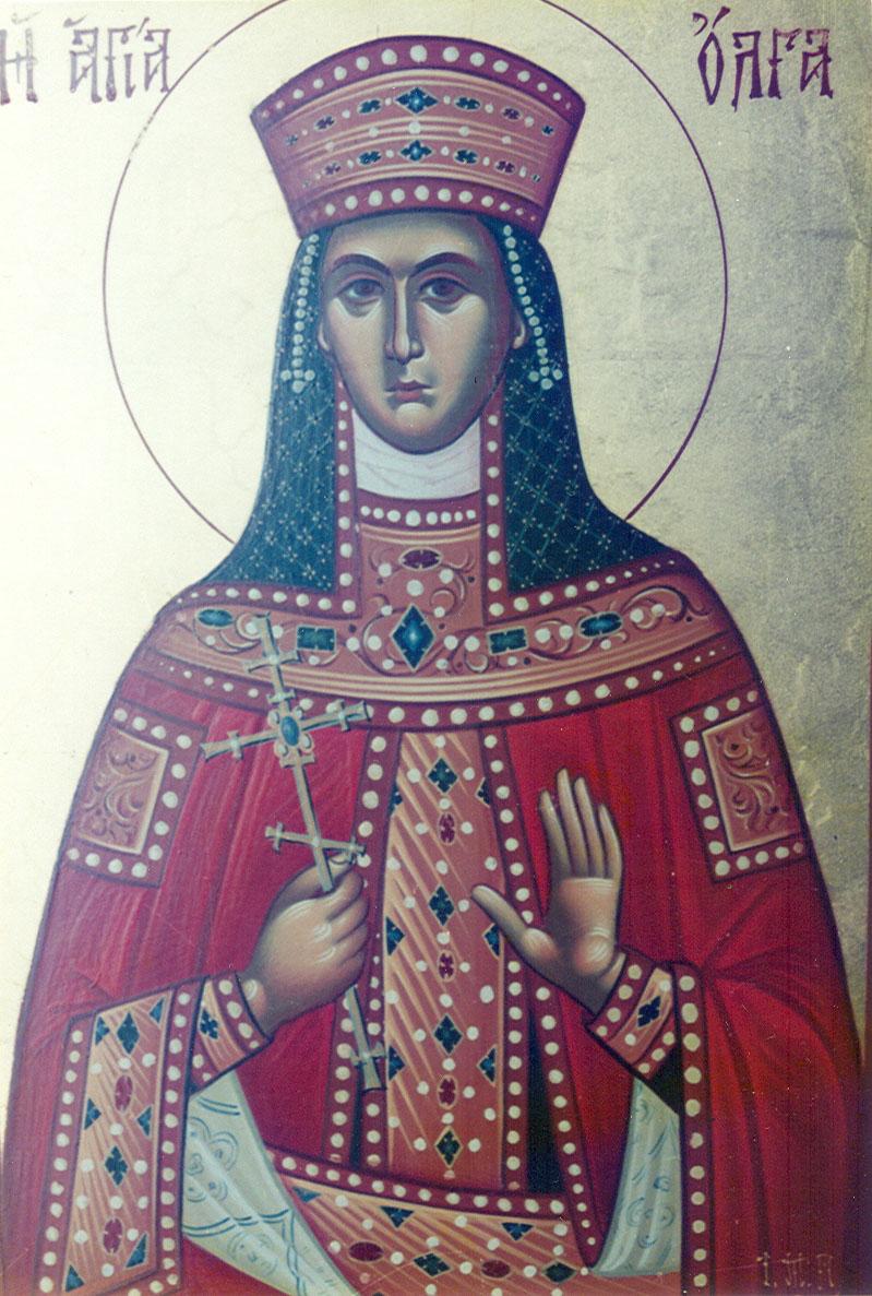 Φορητή εικόνα της Αγίας Όλγας. Εκ του Αγιογραφείου της Ιεράς Μονής Παρακλήτου Ωρωπού.