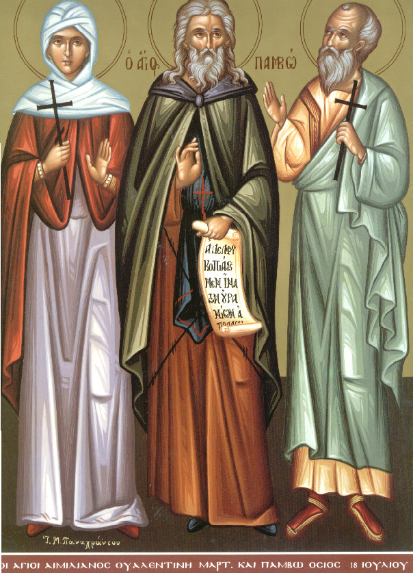 Saints Valentina, Pambo and Emilian (July 18).