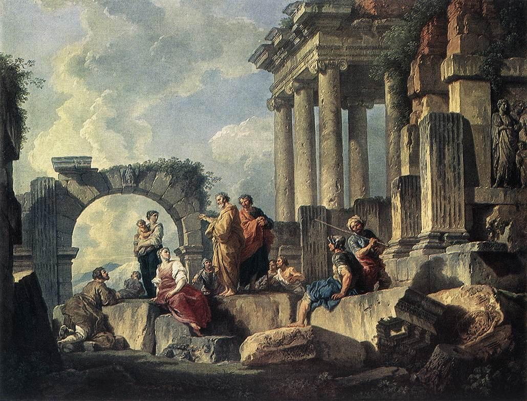 Ο Απόστολος Παύλος διδάσκει στα χαλάσματα. Πίνακας του Giovanni Paolo Pannini (1744).
