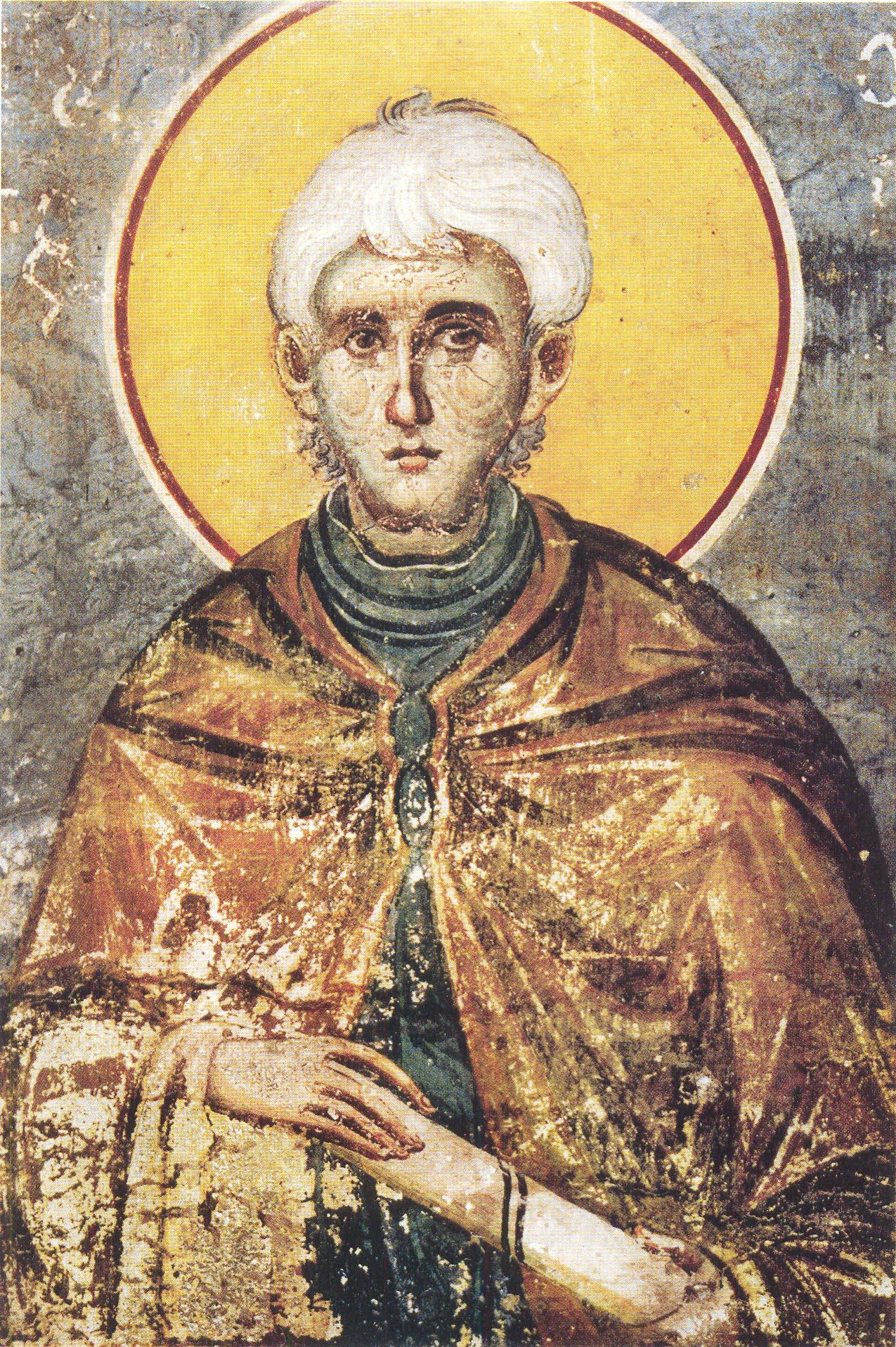 Ο άγιος Παύλος ο Ξηροποταμηνός. Τοιχογραφία του κυρ Μανουήλ Πανσέληνου από το Πρωτάτο των Καρυών (1290).