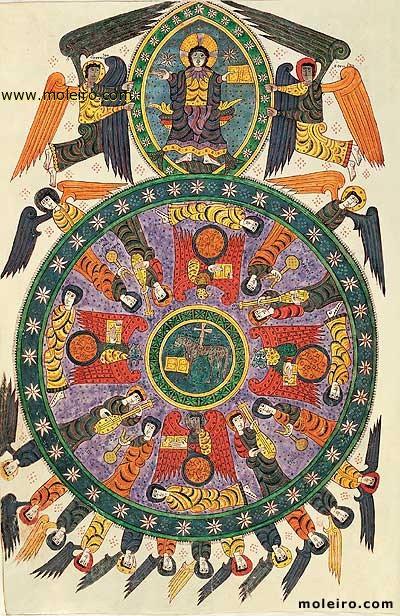 Η Προσκύνηση του Αρνίου (Αποκάλυψη, κεφ. 4-5). Μικρογραφία από (ορθόδοξο) ισπανικό χειρόγραφο του 10ου αιώνα περίπου.
