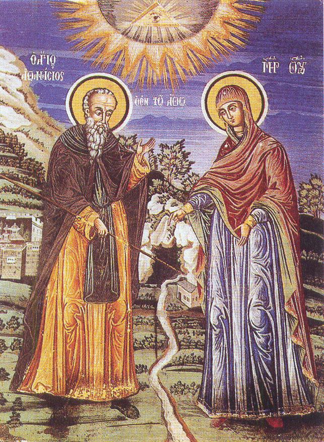 Ο όσιος Αθανάσιος μετά της Θεοτόκου. Τοιχογραφία νάρθηκος Ι.Μ.Μ. Λαύρας (19ος αι.)