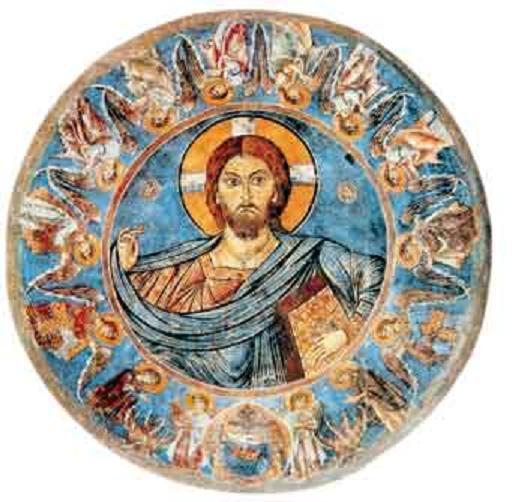 Αποψη των τοιχογραφιών του τρούλου από τον ναό του Αγίου Ευφημιανού στη Λύση. Οι τοιχογραφίες αυτές βρίσκονται επί δανείω σήμερα στην κατοχή του Ιδρύματος Menil, στο Τέξας των ΗΠΑ.