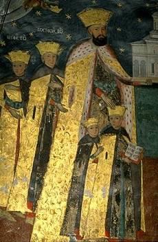 Agios Konstantinos Brancoveanu kai oi syn ayto, leptomereia toichografias