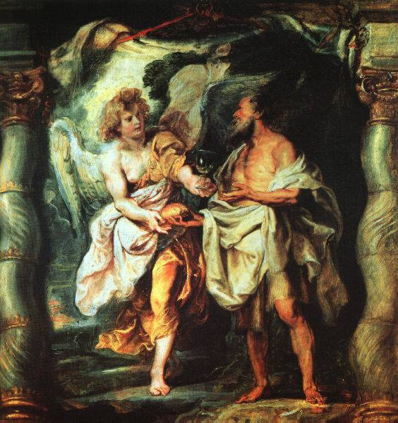 The Prophet Elijah receiving bread and water from ana angel. Painting of Peter Paul Rubens 1625.
