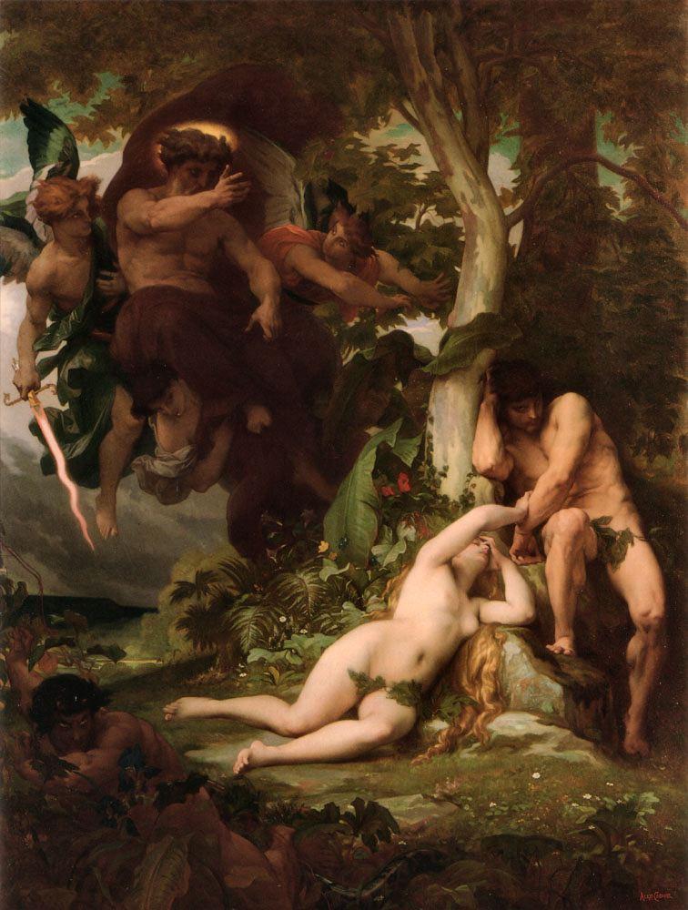 Η εξορία του Αδάμ και της Εύας από τον Παράδεισο. Πίνακας του Γάλλου ζωγράφου Alexandre Cabanel (1863)