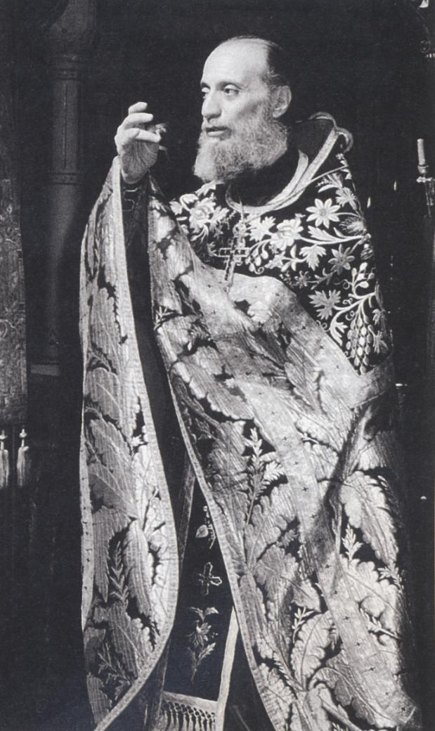 Ο Γέροντας Αιμιλιανός, στην Ωραία Πύλη του Καθολικού της Ι.Μ. Σίμωνος Πέτρας ευλογώντας.