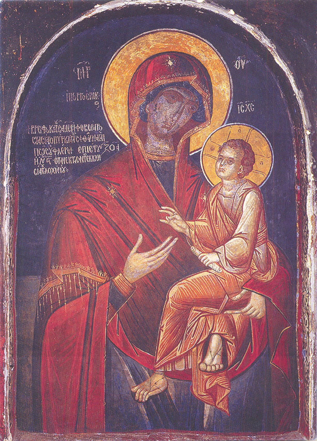 Η θαυματουργική εικόνα της Παναγίας Γοργοϋπηκόου στην Ιερά Μονή Δοχειαρίου του Αγίου Όρους.