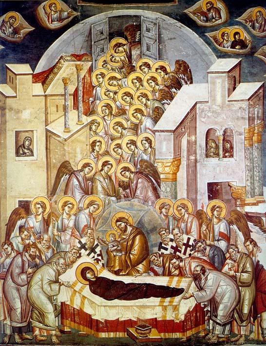 Η κοίμηση της Θεοτόκου. Τοιχογραφία των Μιχαήλ Αστραπά και Ευτύχιου στον Άγιο Κλήμεντα της Αχρίδας.