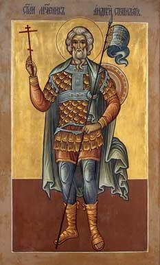 Ο άγιος Ανδρέας ο Στρατηλάτης. Αγιογραφία του Holy Transfiguration Monastery στη Βοστώνη (www.thehtm.org).