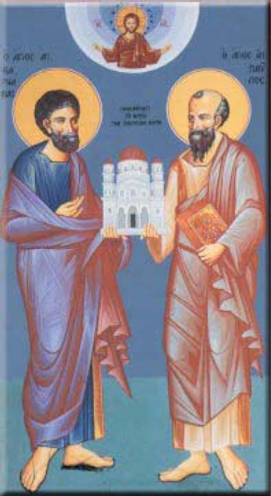 Οι Απόστολοι Παύλος και Βαρνάβας, ιδρυτές της Εκκλησίας της Κύπρου.