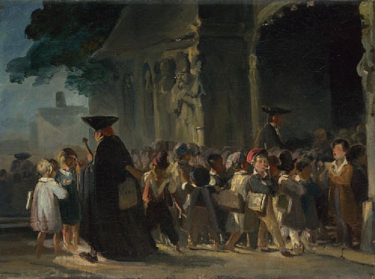 children at church door