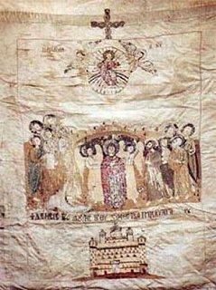 Το Λάβαρο των Μακεδονικών δυνάμεων της Ελληνικής Επανάστασης του 1821 που υψώθηκε στη μάχη της Ρεντίνας, στις 17 Ιουνίου 1821, στη Μακεδονία υπό την αρχηγία του Αρχιστράτηγου Εμμανουήλ Παπά φυλάσσεται στην Ι. Μ. Εσφιγμένου στο Άγιον Όρος