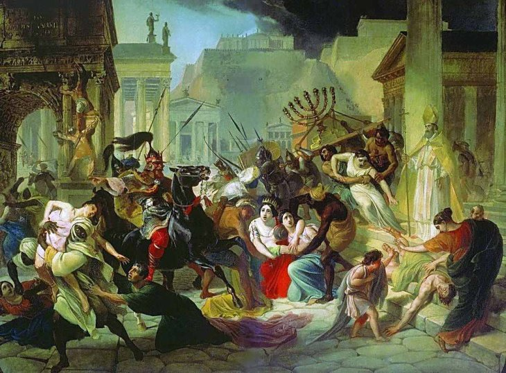 Genseric (king of Vandals) in Rome. Sacco di Roma 455. Painting of Karl Briullov 1833-1836.