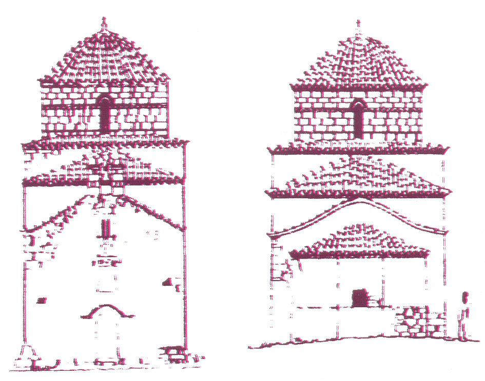 Δυτική και Ανατολική όψη καθολικού. Σχέδια Γ. Δούσκα.