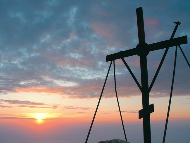 Ο σταυρός στην κορυφή του Άθω