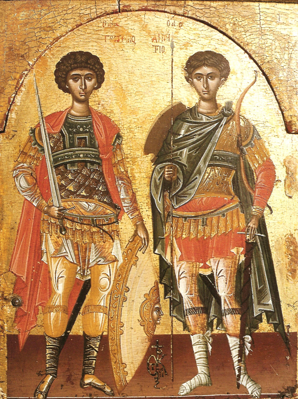 Οι άγιοι Γεώργιος και Δημήτριος σε εικονίδιο με την υπογραφή του Θεοφάνους του Κρητός. St George and St Demetrios, an icon signed by Theophanes the Cretan.