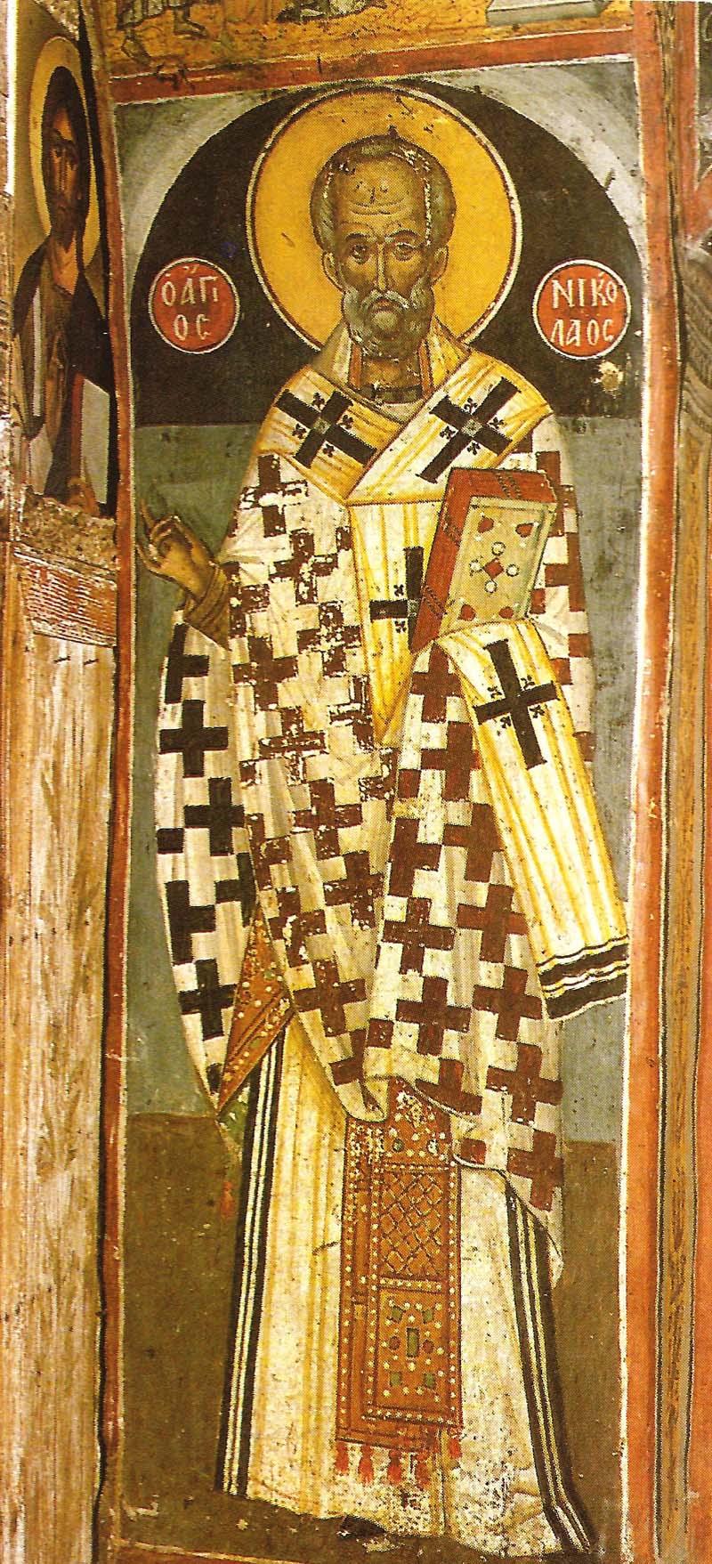 Ο άγιος Νικόλαος. Τοιχογραφία του καθολικού της Ιεράς Μονής Αγίου Νικολάου Αναπαυσά.