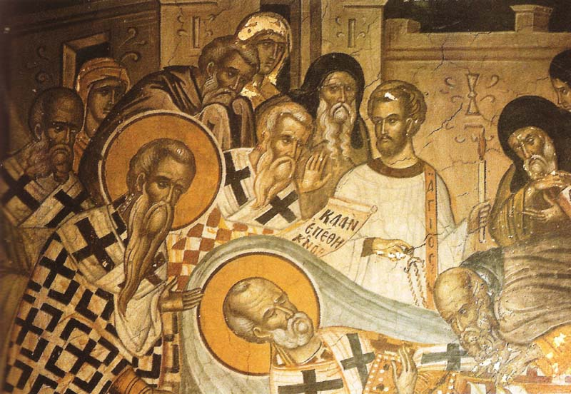 Η Κοίμηση του αγίου Νικολάου (λεπτομέρεια). Τοιχογραφία του καθολικού.