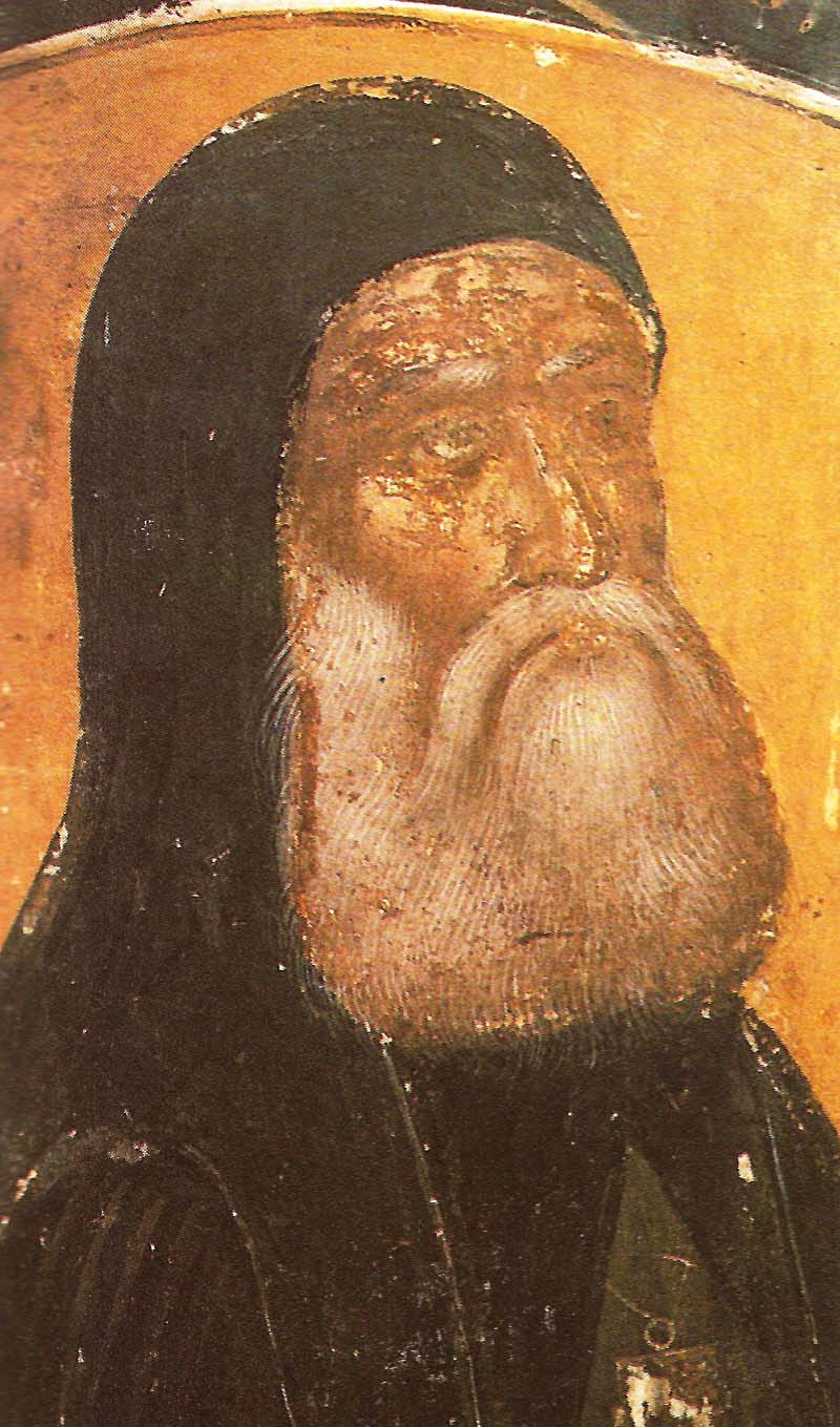 Τοιχογραφία του καθολικού της Ιεράς Μονής Αγίου Νικολάου Αναπαυσά. Ο κτίτωρ άγιος Διονύσιος Λαρίσης ο Ελεήμων.