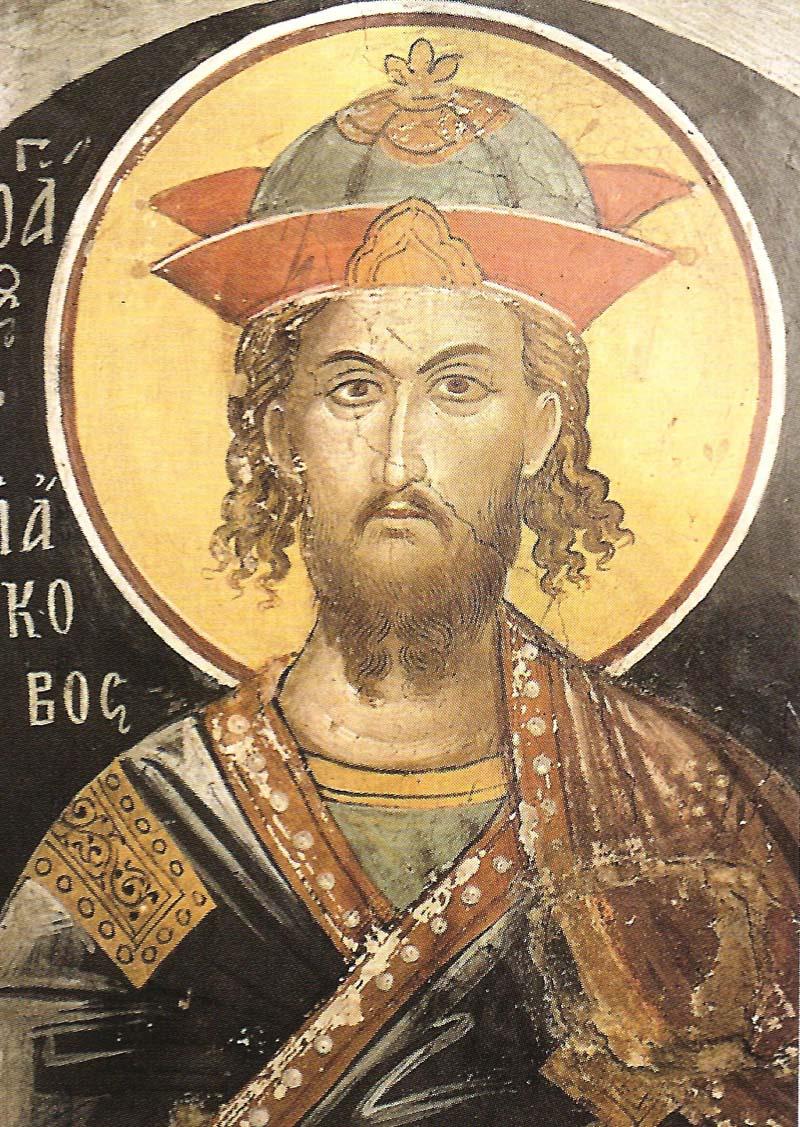 Ο άγιος Ιάκωβος ο Πέρσης. Τοιχογραφία του καθολικού.