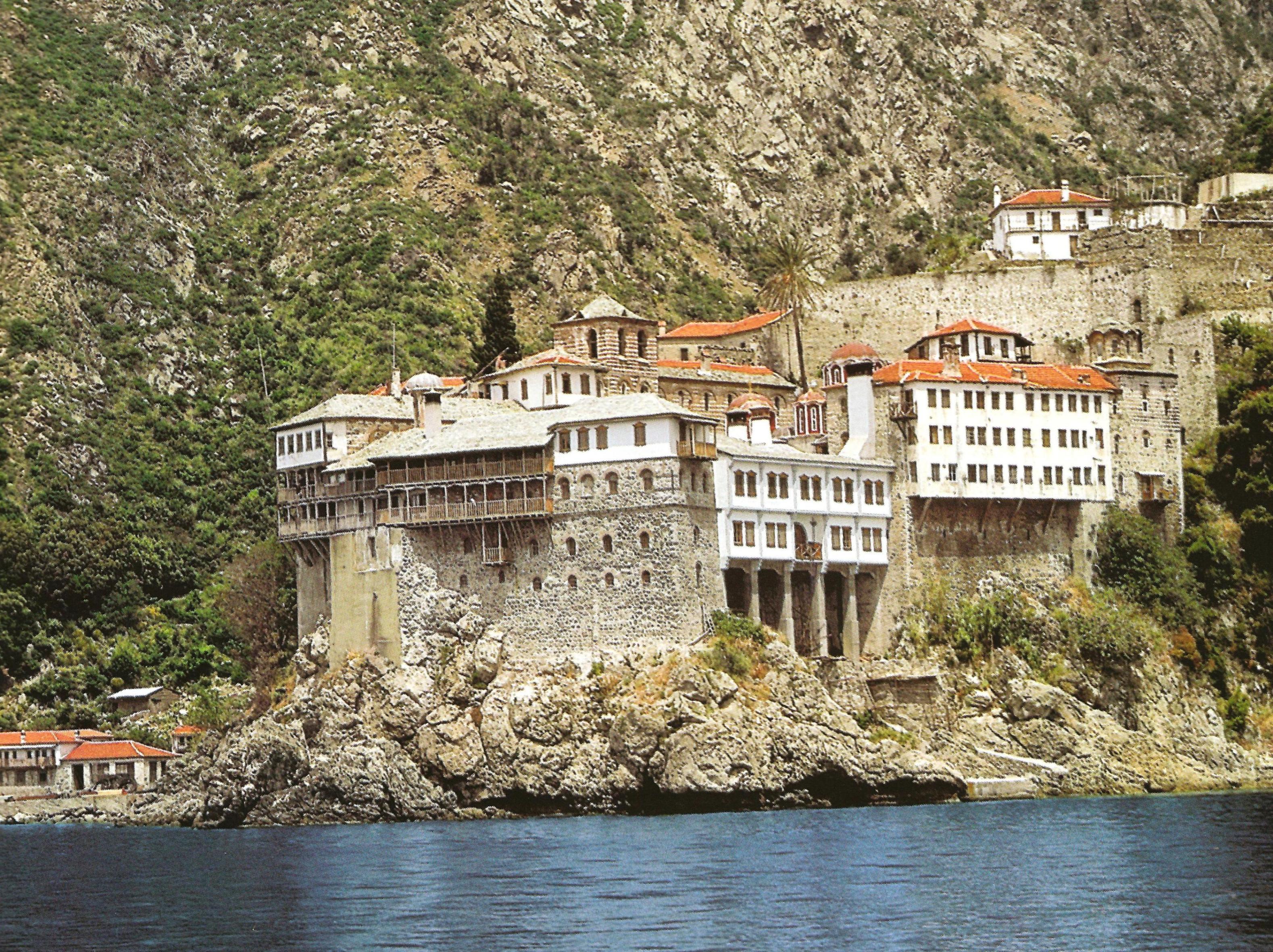Ιερα Μονή Οσίου Γρηγορίου. Εξωτερική άποψη. Holy Monastery of Gregoriou. External view.