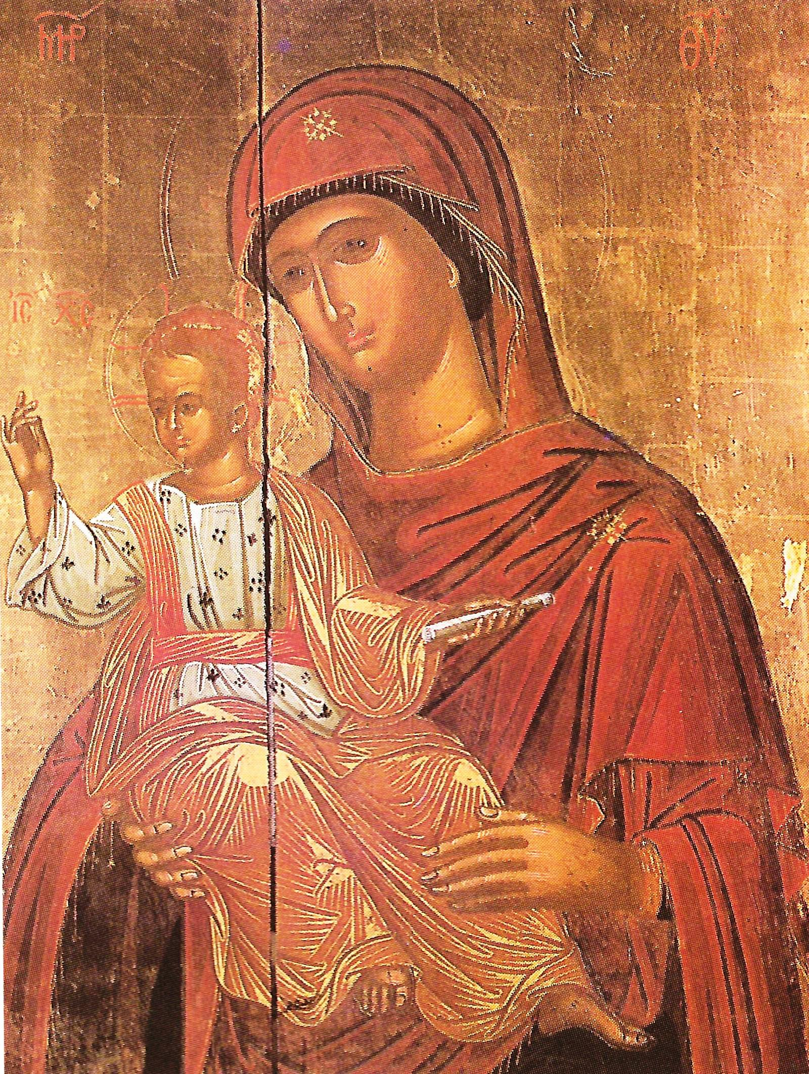 MoΗ Παναγία. Φορητή εικόνα (ιστ΄ αιώνα) στο τέμπλο του κυρίως ναού του καθολικού.ni Megalou Meteorou, Meteora_04