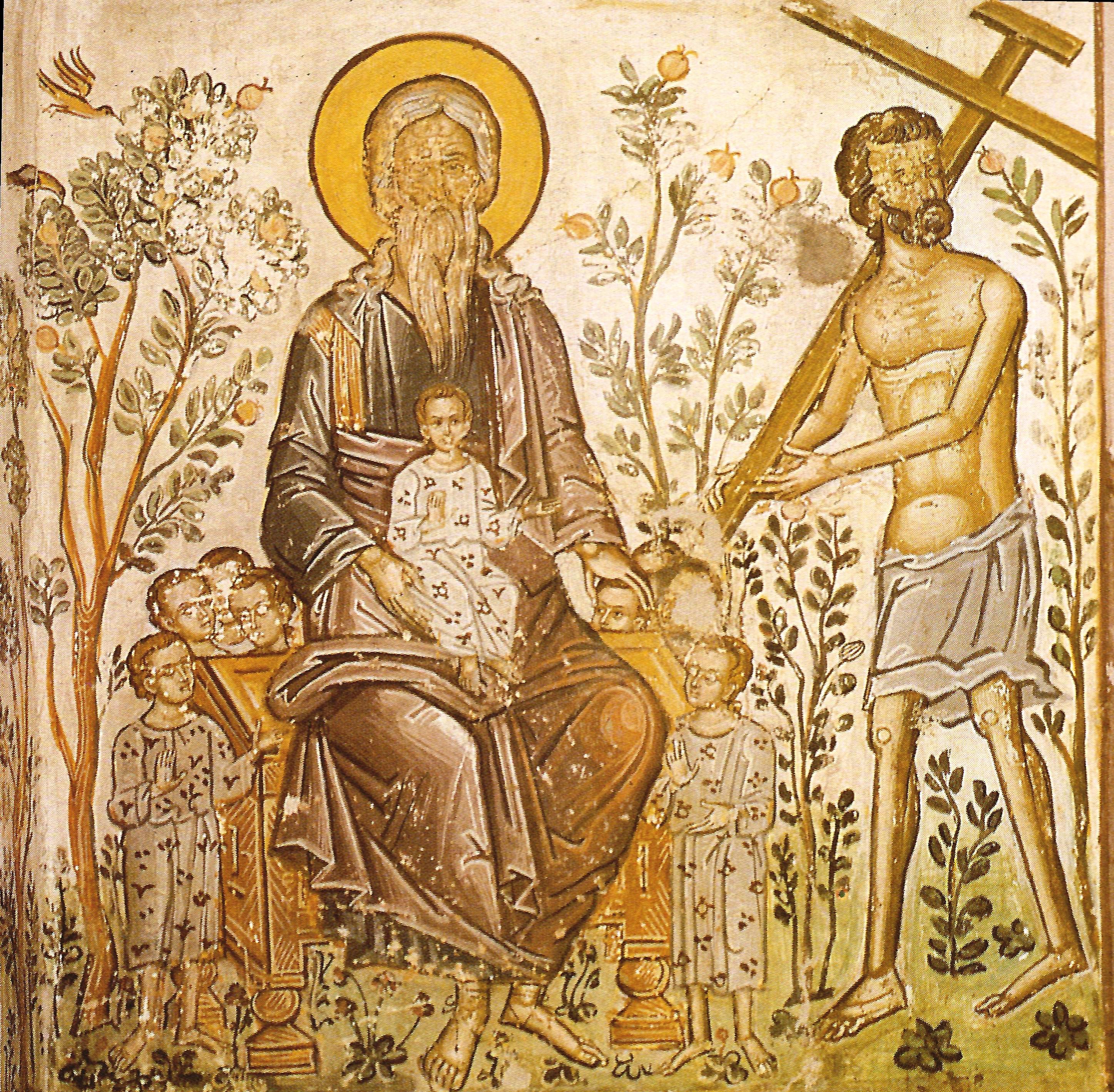 Ο ληστής στον παράδεισο. Τοιχογραφία καθολικού Ιεράς Μονής Ρουσάνου Μετεώρων.