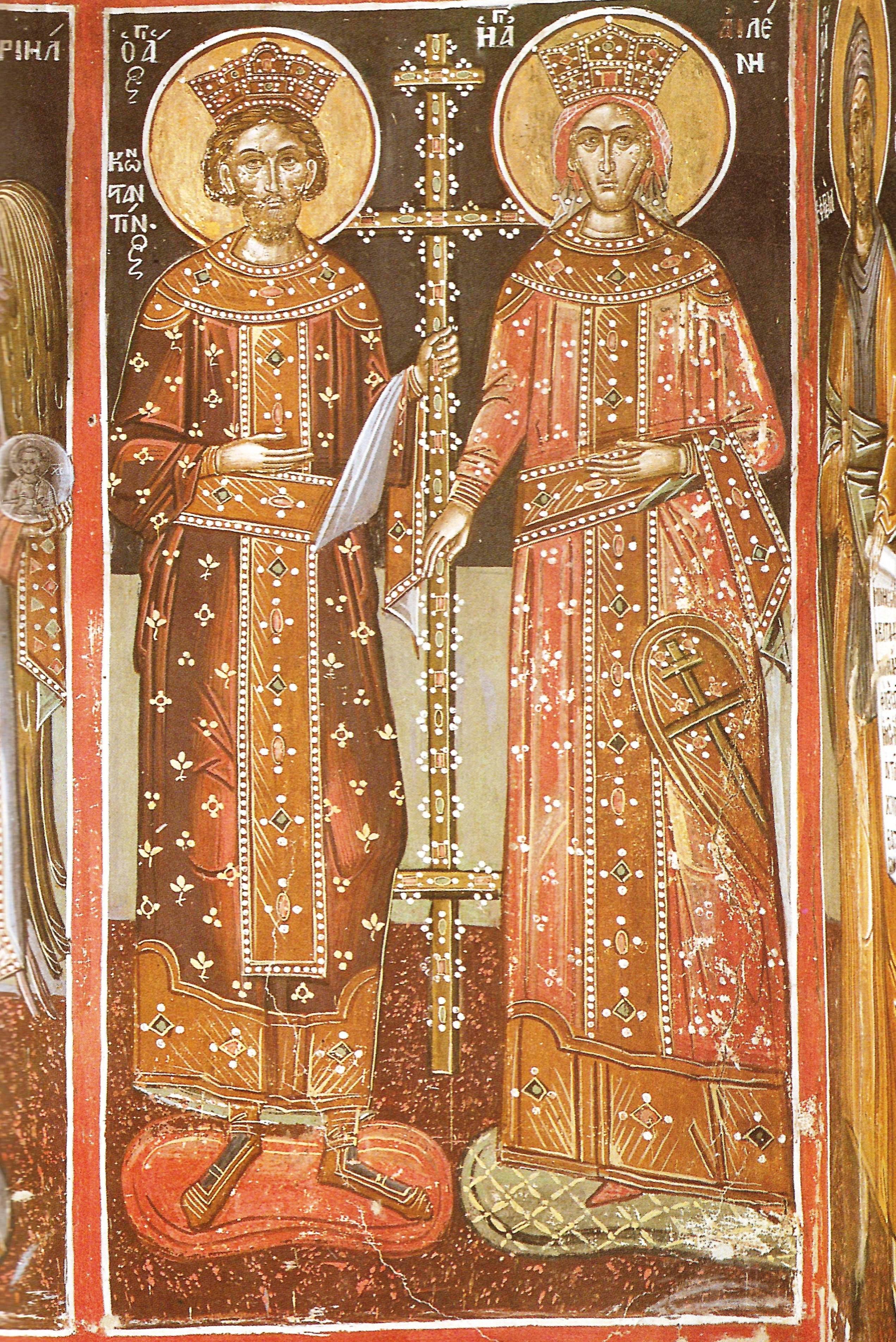 Οι ένδοξοι Θεόστεπτοι βασιλείς και ισαπόστολοι Κωνσταντίνος και Ελένη. Τοιχογραφία καθολικού Ι.Μ. Ρουσάνου Μετεώρων.