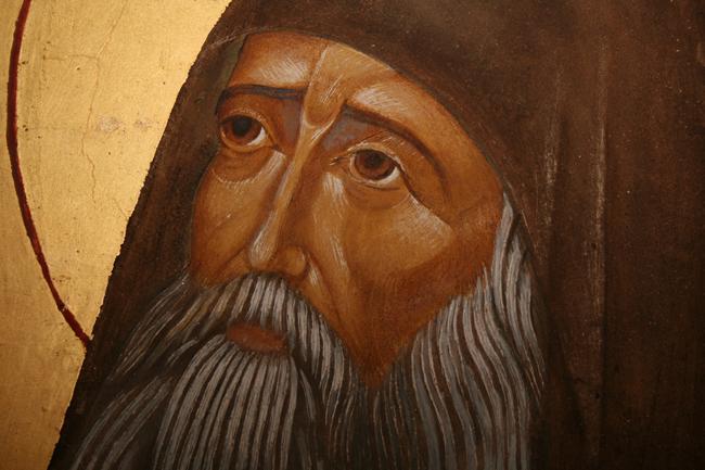 Λεπτομέρεια από τον άγιο Σιλουανό. Έργο του Γέροντος Σωφρονίου στην τράπεζα της Ι.Μ. Τιμίου Προδρόμου Έσσεξ Αγγλίας.