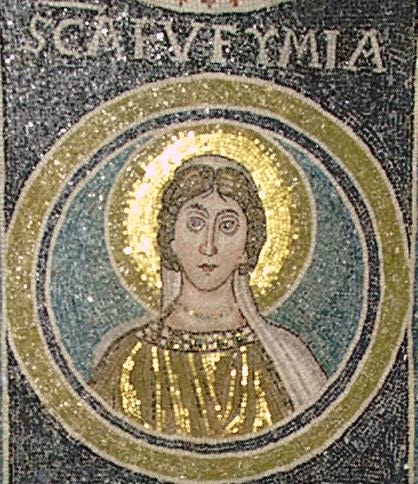 Byzantine mosaic of St. Euphemia of the 6th century. Porec, Basilica of Euphrasius.