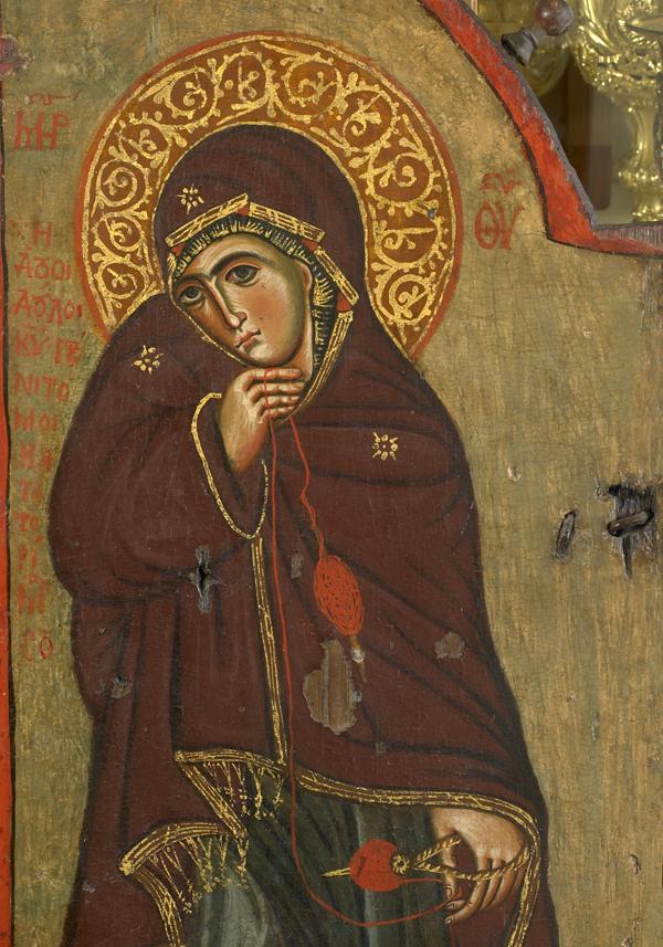 Η Παναγία από βημόθυρο του Ευαγγελισμού. Λεπτομέρεια, 12ος αι. Ι.Μ.Μ. Βατοπαιδίου