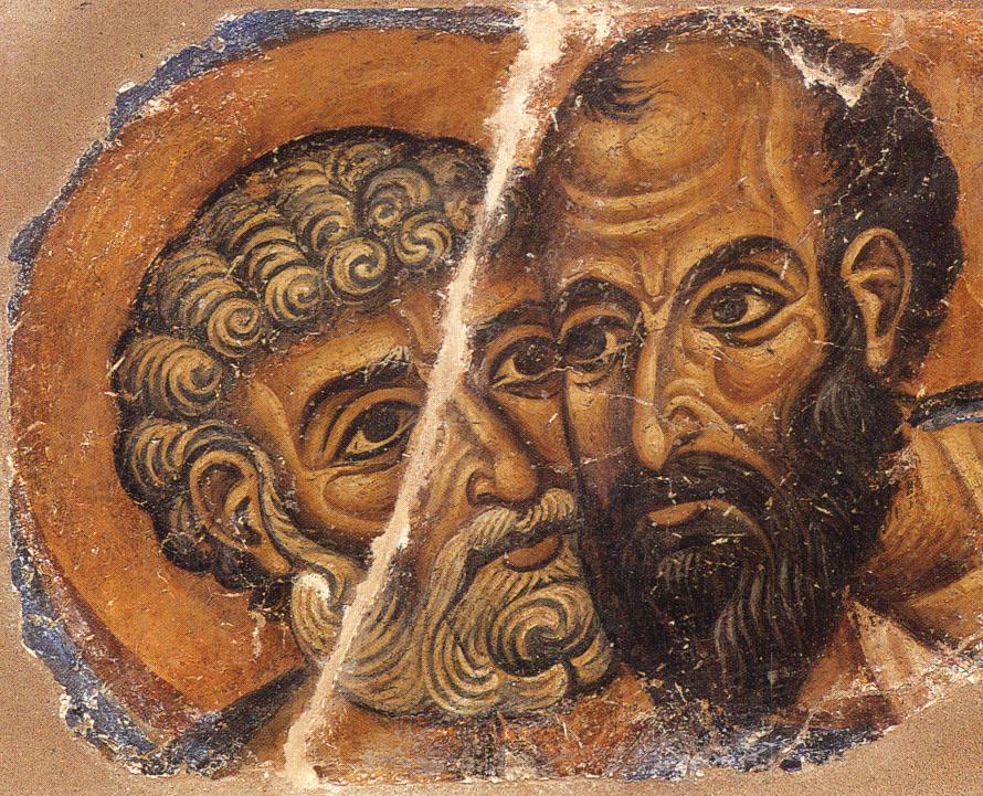 Οι Άγιοι Απόστολοι Πέτρος και Πάυλος. Τοιχογραφία Ι.Μ.Μ. Βατοπαιδίου
